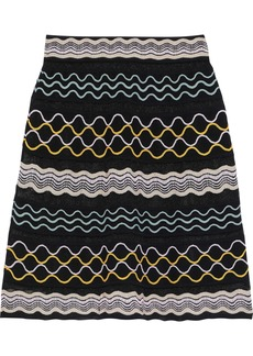 M Missoni Woman Embroidered Crochet-knit Cotton-blend Skirt Black