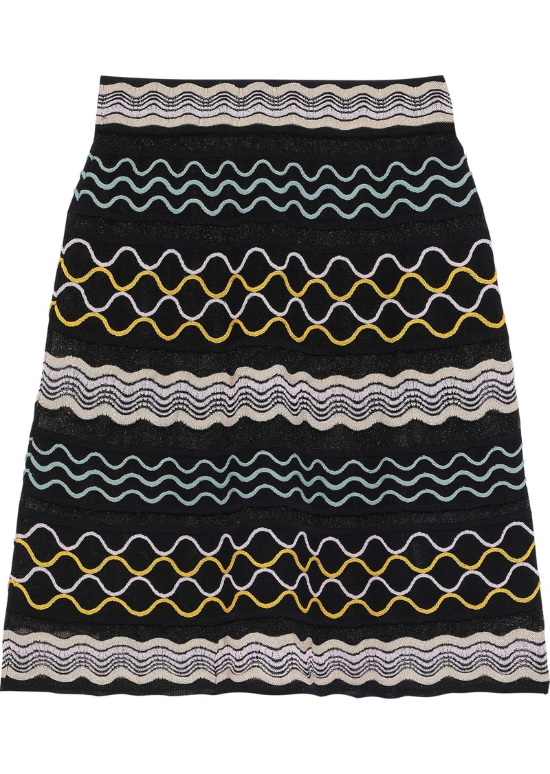 M Missoni Woman Embroidered Crochet-knit Skirt Black