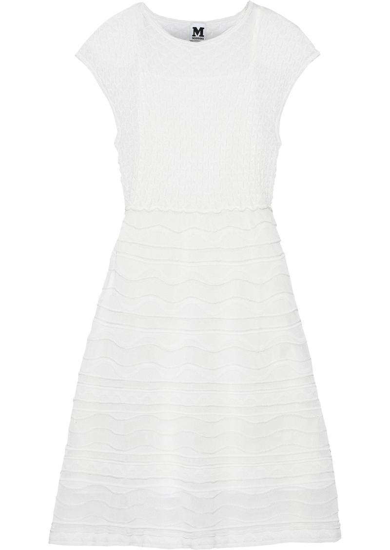 M Missoni Woman Embroidered Crochet-knit Dress White
