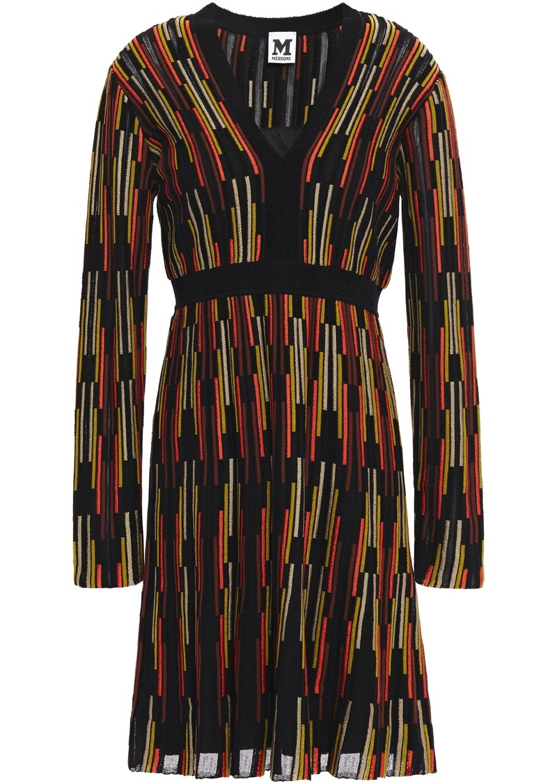 M Missoni Woman Flared Crochet-knit Dress Black