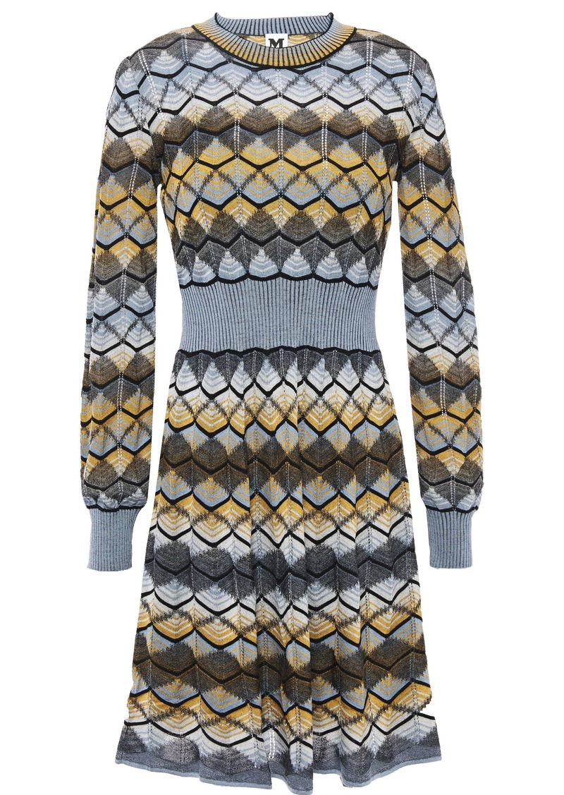 M Missoni Woman Flared Crochet-knit Wool-blend Mini Dress Multicolor