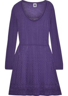M Missoni Woman Flared Crochet-knit Wool-blend Mini Dress Purple