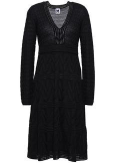M Missoni Woman Flared Jacquard-knit Wool-blend Mini Dress Black