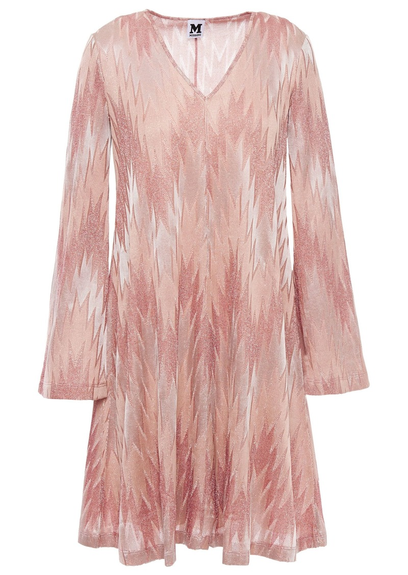 M Missoni Woman Flared Metallic Crochet-knit Mini Dress Antique Rose
