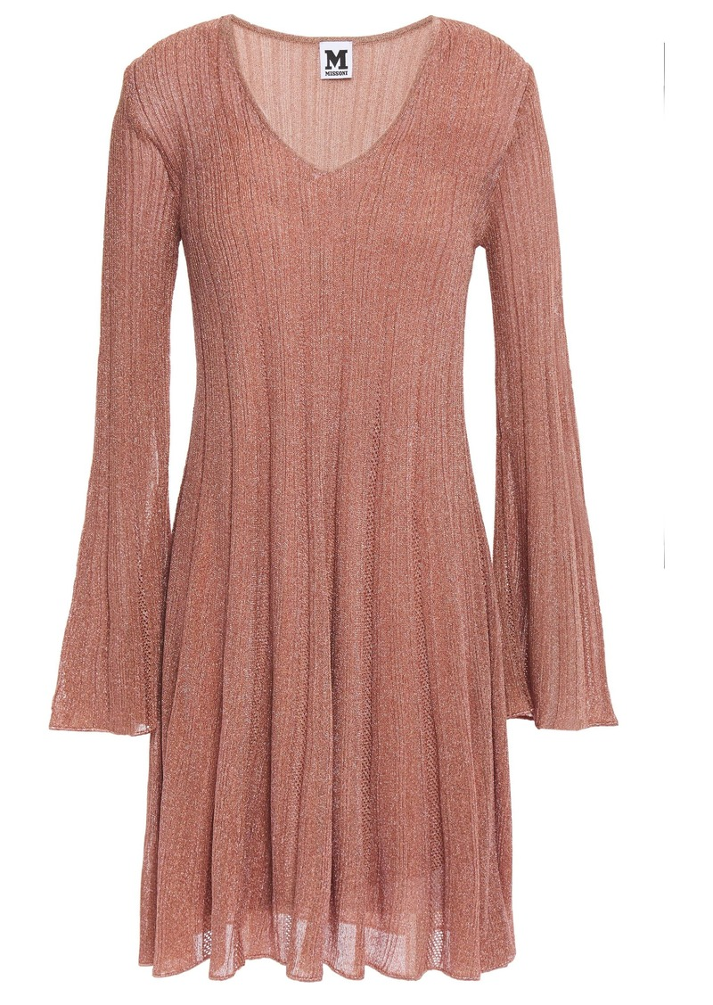 M Missoni Woman Flared Ribbed Metallic Crochet-knit Mini Dress Antique Rose