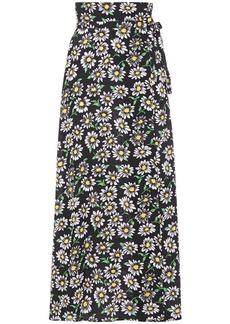 M Missoni Woman Floral-print Crepe Maxi Wrap Skirt Black