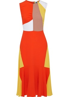 M Missoni Woman Fluted Color-block Crepe Midi Dress Bright Orange
