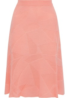 M Missoni Woman Fluted Crochet-knit Cotton-blend Skirt Coral