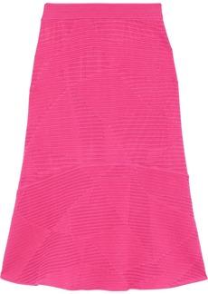 M Missoni Woman Fluted Crochet-knit Cotton-blend Skirt Pink