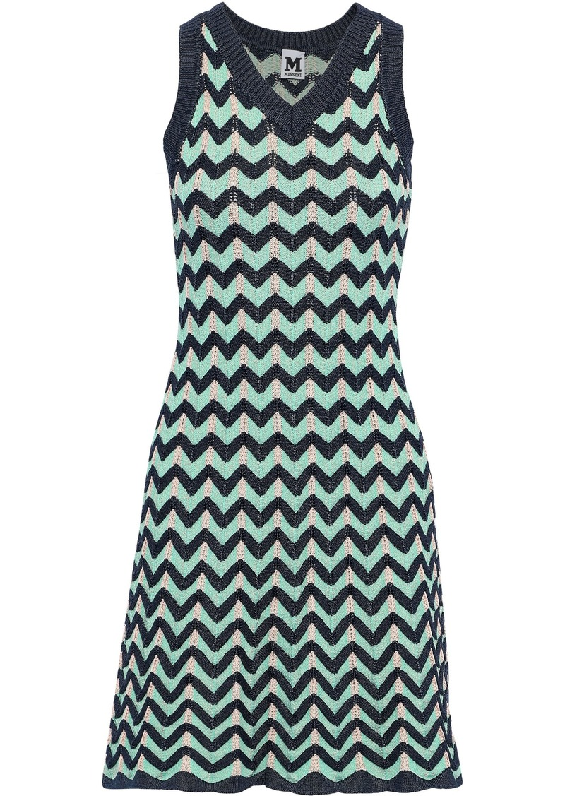 M Missoni Woman Fluted Crochet-knit Dress Navy