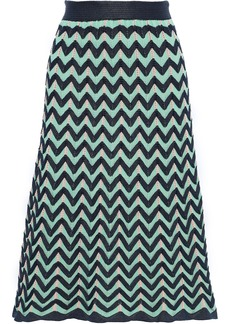M Missoni Woman Fluted Crochet-knit Skirt Mint