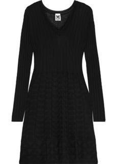 M Missoni Woman Flared Crochet-knit Wool-blend Mini Dress Black