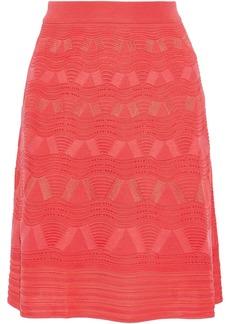 M Missoni Woman Fluted Crochet-knit Wool-blend Skirt Papaya