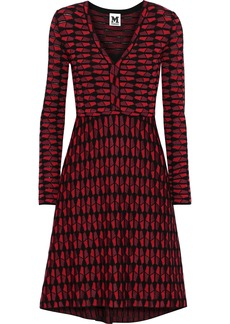 M Missoni Woman Fluted Metallic Crochet-knit Cotton-blend Dress Red