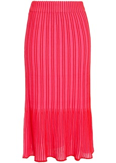 M Missoni Woman Fluted Striped Ribbed Cotton-blend Midi Skirt Pink