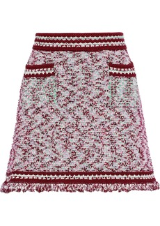 M Missoni Woman Frayed Bouclé-knit Mini Skirt Claret