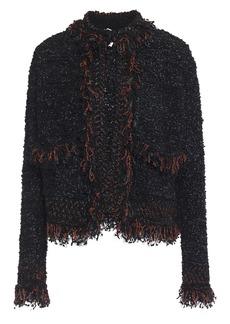 M Missoni Woman Frayed Metallic Bouclé-knit Jacket Midnight Blue