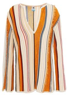 M Missoni Woman Frayed Striped Cotton-blend Sweater Beige
