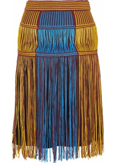 M Missoni Woman Fringed Color-block Crochet-knit Skirt Marigold