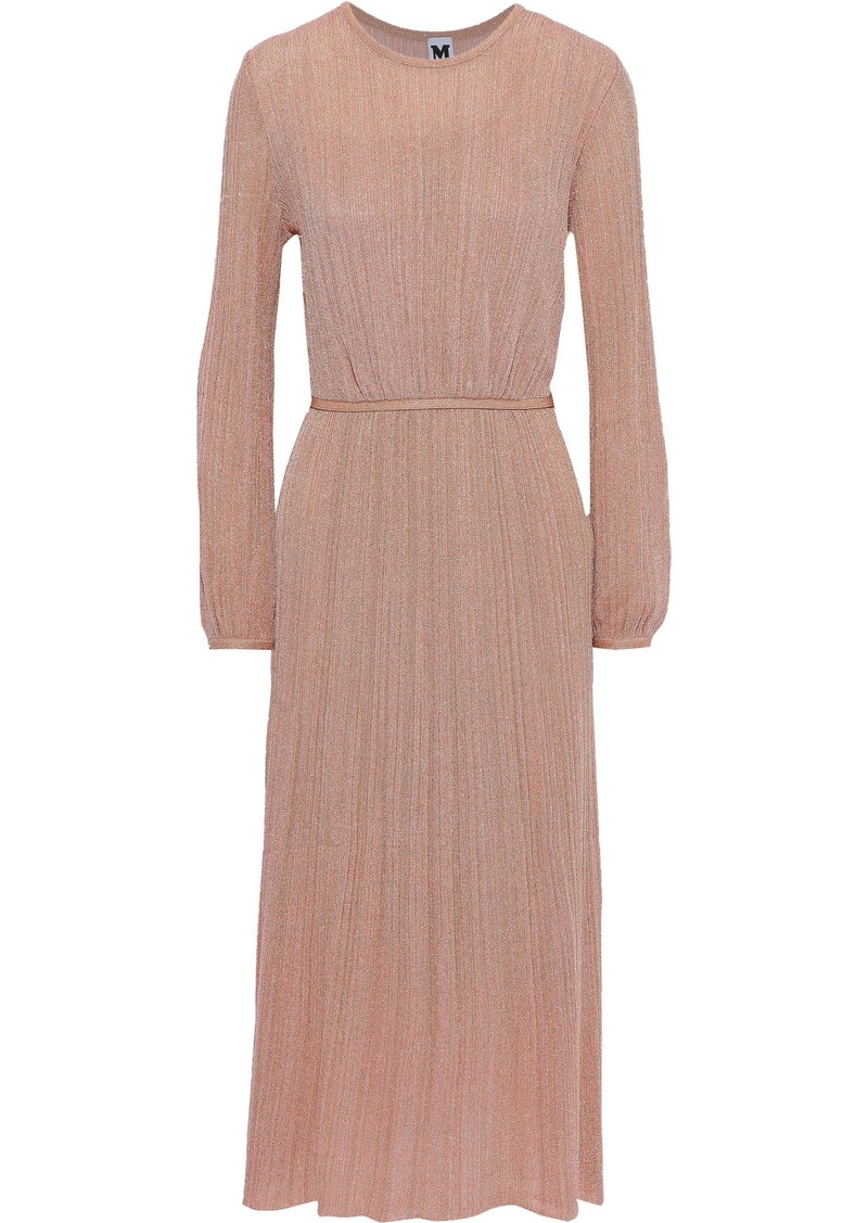 M Missoni Woman Gathered Metallic Crochet-knit Midi Dress Antique Rose