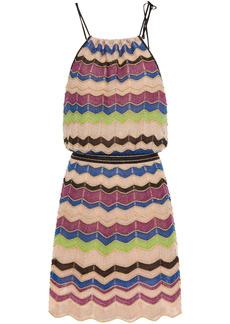 M Missoni Woman Gathered Metallic Crochet-knit Mini Dress Blush