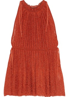 M Missoni Woman Gathered Metallic Crochet-knit Top Tomato Red