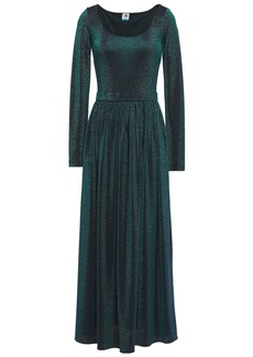 M Missoni Woman Gathered Metallic Stretch-knit Midi Dress Emerald