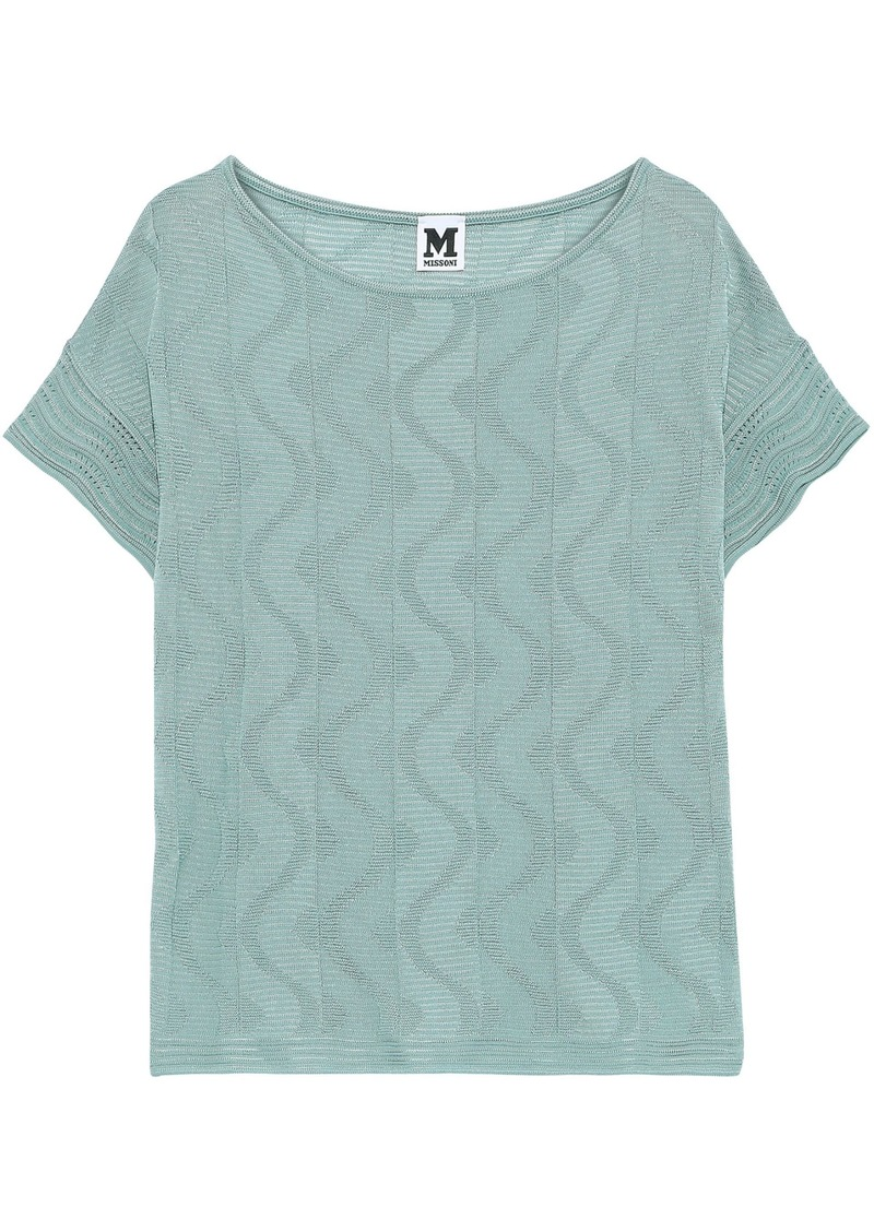 M Missoni Woman Jacquard And Crochet-knit Cotton-blend Top Jade