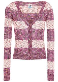 M Missoni Woman Striped Crochet-knit Cardigan Violet