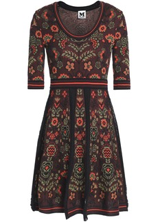 M Missoni Woman Jacquard-knit Cotton-blend Mini Dress Brick