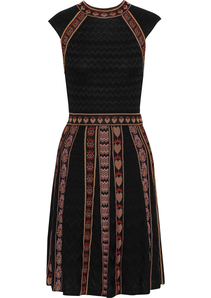M Missoni Woman Jacquard Knit-trimmed Crochet-knit Dress Black