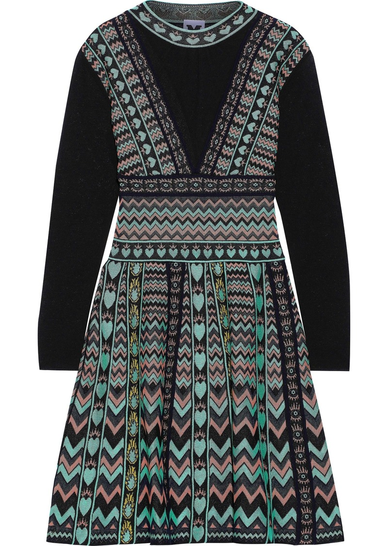M Missoni Woman Jacquard Mini Dress Mint