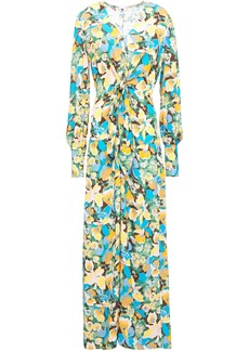 M Missoni Woman Knotted Printed Crepe Maxi Dress Blue