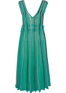 M Missoni Woman Lace-up Cutout Striped Midi Dress Jade