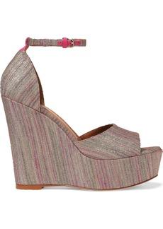 M Missoni Woman Leather-trimmed Metallic Crochet-knit Wedge Sandals Antique Rose