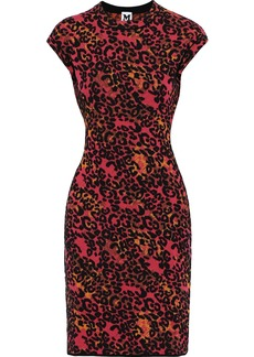 M Missoni Woman Leopard Jacquard-knit Dress Magenta