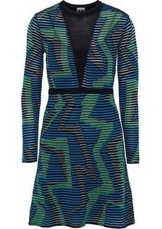 3faf639e15 M Missoni Woman Mesh-paneled Intarsia-knit Mini Dress Teal