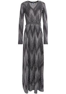 M Missoni Woman Metallic Crochet And Open-knit Maxi Dress Dark Gray