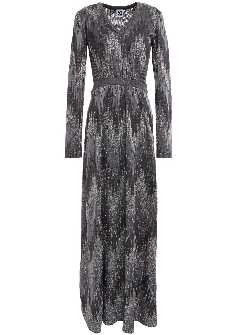 M Missoni Woman Metallic Crochet And Open-knit Maxi Dress Dark Gray