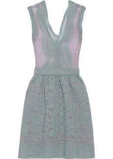 M Missoni Woman Metallic Crochet-knit Cotton-blend Dress Grey Green