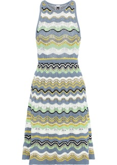 M Missoni Woman Metallic Crochet-knit Cotton-blend Dress Sky Blue