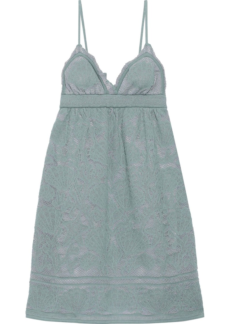 M Missoni Woman Metallic Crochet-knit Cotton-blend Mini Slip Dress Grey Green