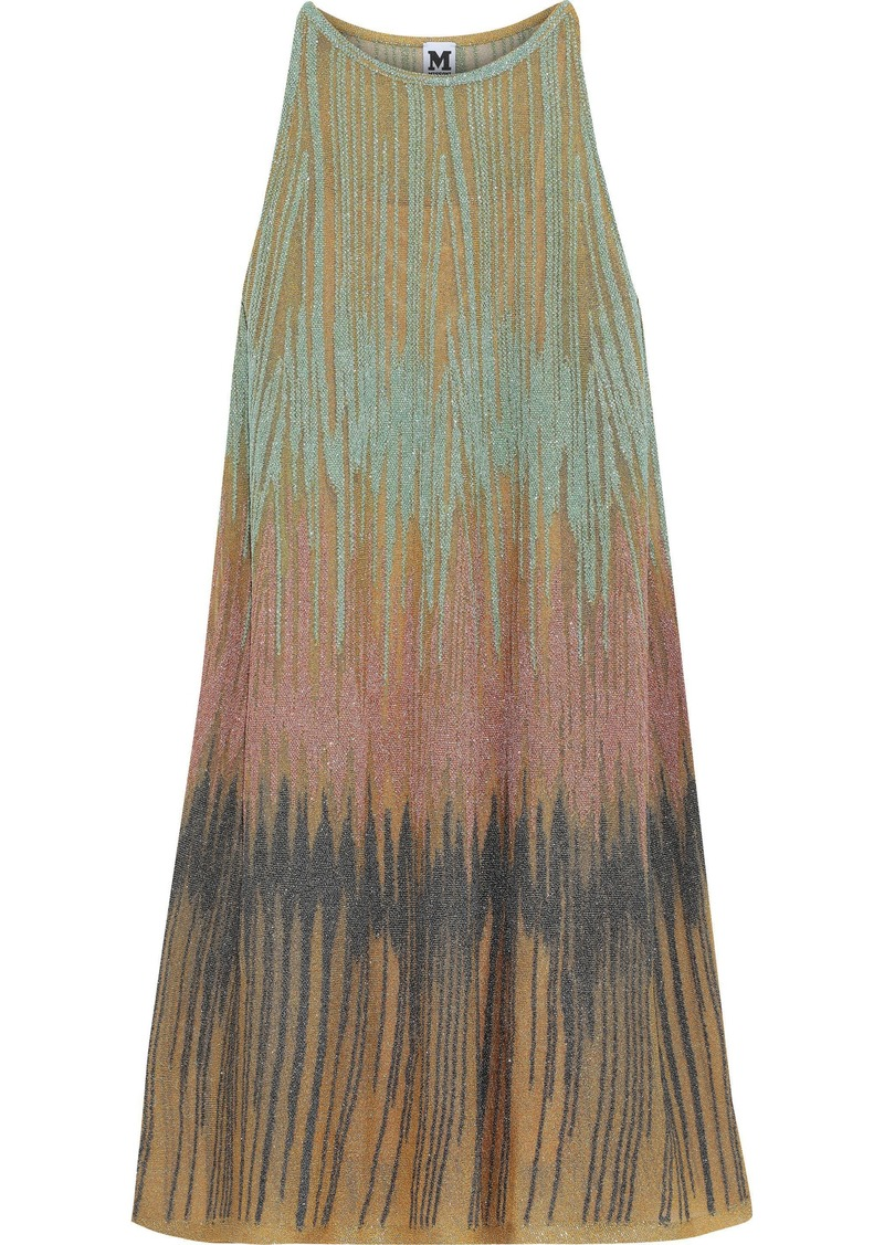 M Missoni Woman Metallic Crochet-knit Dress Mustard