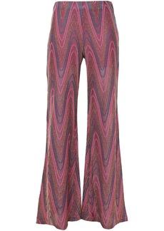 M Missoni Woman Metallic Crochet-knit Flared Pants Magenta