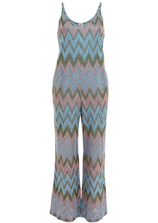 M Missoni Woman Metallic Crochet-knit Jumpsuit Army Green