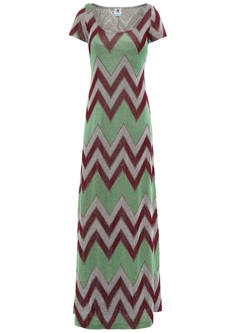 M Missoni Woman Metallic Crochet-knit Maxi Dress Light Green