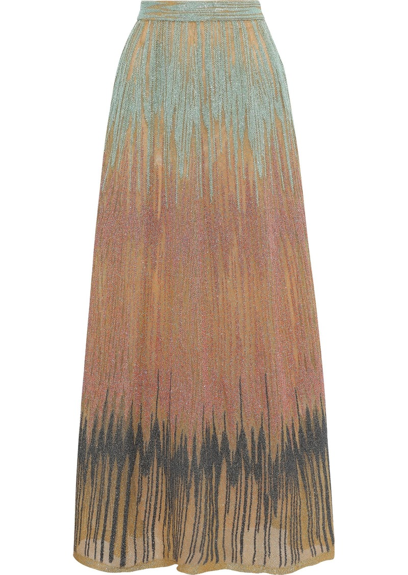 M Missoni Woman Metallic Crochet-knit Maxi Skirt Mustard