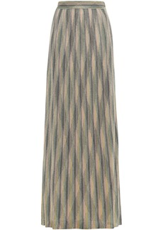 M Missoni Woman Metallic Crochet-knit Maxi Skirt Sage Green
