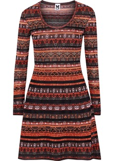 M Missoni Woman Metallic Crochet-knit Mini Dress Bright Orange