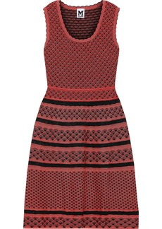 M Missoni Woman Metallic Crochet-knit Mini Dress Coral